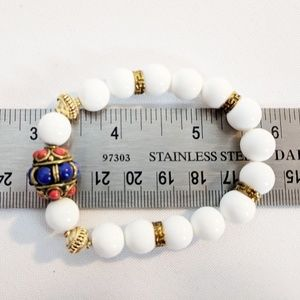 Jewelry - Beaded Charm Bracelet Faux Pearl Patriotic